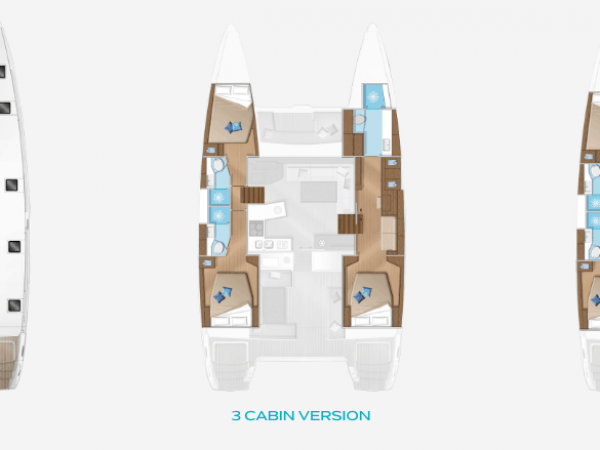 Layout plan of the saloon and customizable options for cabins