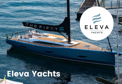 Eleva yachts logo with boat