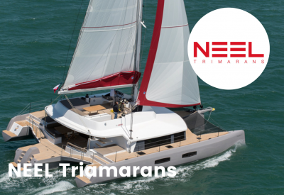 Neel trimarans logo with boat