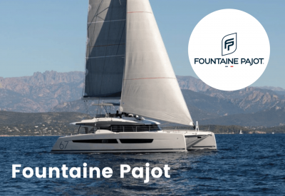 Fountaine pajot logo with boat