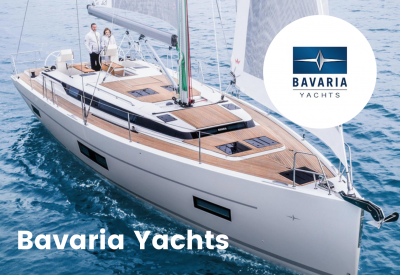 Bavaria yacht logo with boat