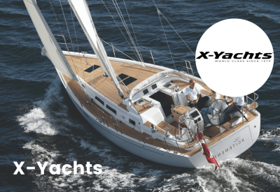 X-Yachts logo with boat