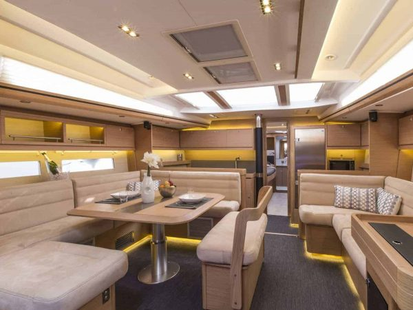 Outstanding and luxurious saloon and kitchen area of the Dufour Exclusive 56