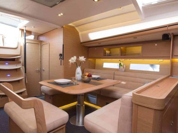 Spacious and premier dining area of the Dufour Exclusive 56