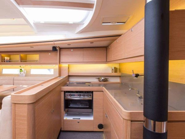 Beautiful fully equipped kitchen area of the Dufour Exclusive 56