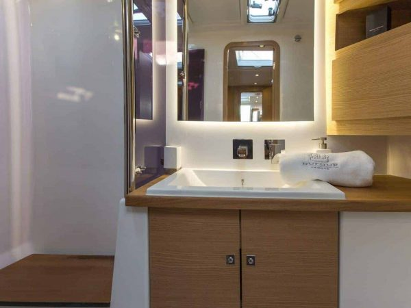 Luxurious toilet and shower of the Dufour Exclusive 56