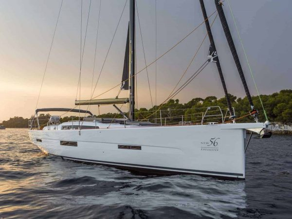 The beautiful Dufour Exclusive 56 anchored