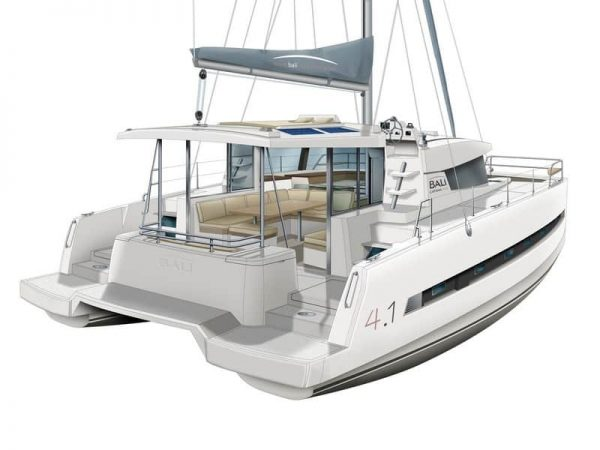 Exterior layout of the BALI 4.1 Catamaran from the back