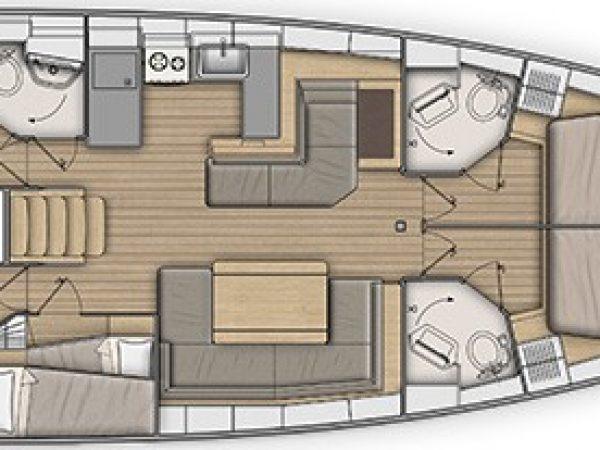 Customizable layout plan of the Beneteau Oceanis 51.1