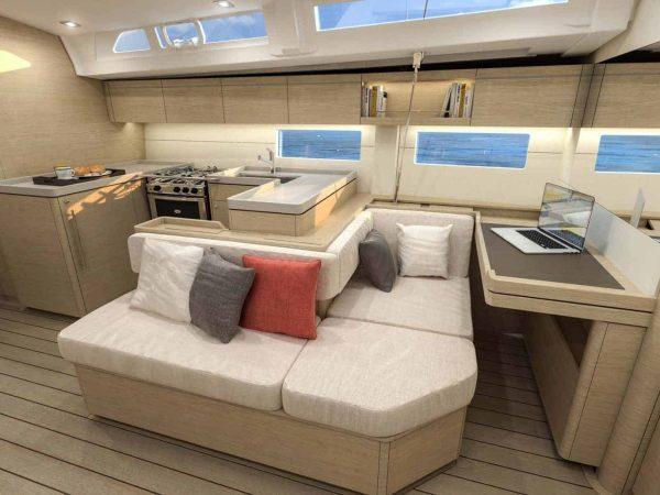 Relaxing area to enjoy inside the Beneteau Oceanis 55.1