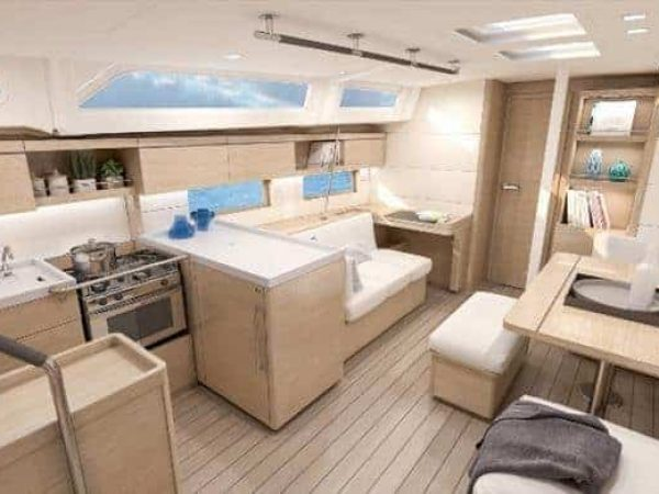 Spacious galley and dining area of the Beneteau Oceanis 46.1